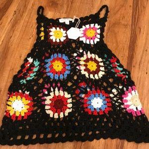 Honey punch floral crochet tank